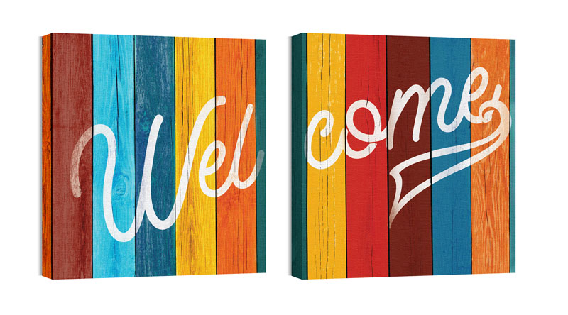 Wall Art, Welcome, Mod Welcome Pair 6, 24 x 24