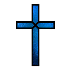 Blue Stained Glass Cross