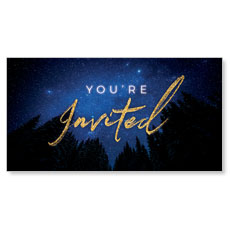 Night Sky Gold Script Christmas You're Invited