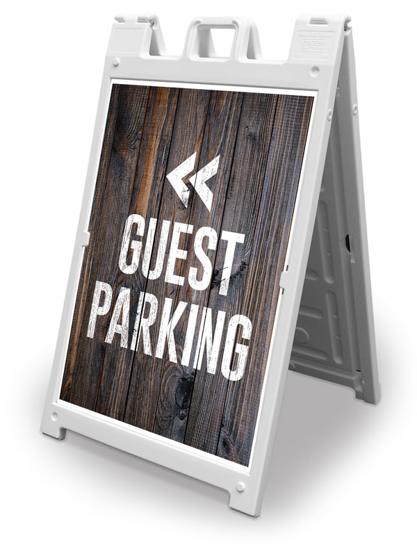 Banners, Directional, Dark Wood Guest Parking, 2' x 3'